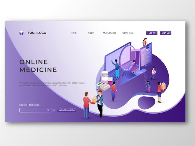 Isometrische geneeskunde op laptop. online medische winkel met e-betalers
