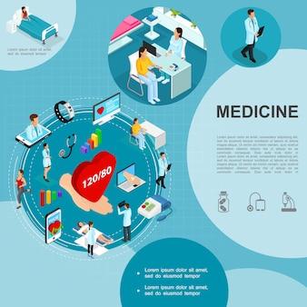 Isometrische geneeskunde sjabloon met medisch consult artsen patiënt in ziekenhuisafdeling smartwatch mobiele laptop hand met hart tonometer stethoscoop
