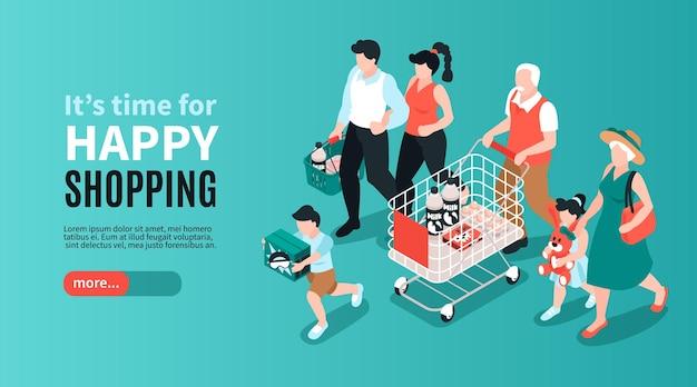Isometrische generatie familie horizontale banner met tekst meer knop en gezinsleden karakters met winkelwagentjes