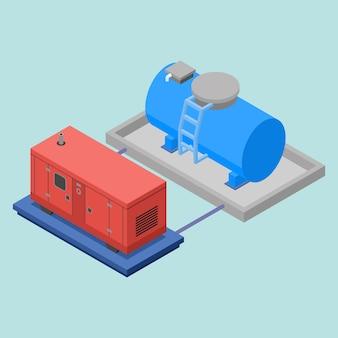 Isometrische generator en watertank
