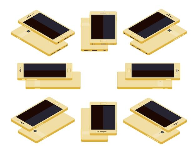 Isometrische generieke gouden smartphone