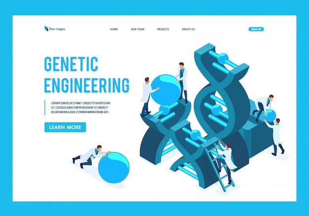 Isometrische genetische manipulatie, dna-structuur, medisch personeel, wetenschappers landingspagina