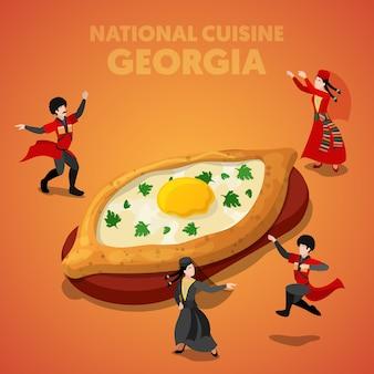 Isometrische georgia national cuisine met khachapuri en georgische mensen in traditionele kleding. vector 3d platte illustratie