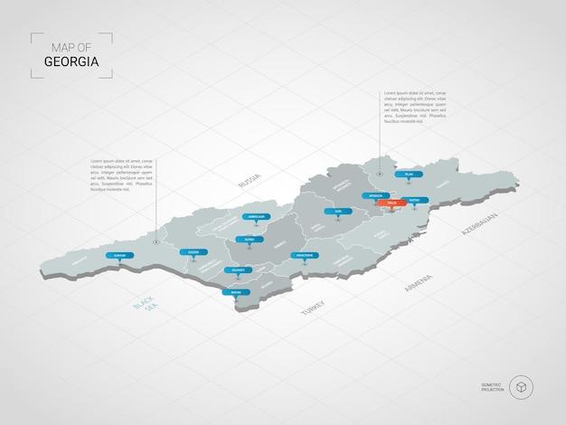 Isometrische georgië kaart. gestileerde kaartillustratie met steden, grenzen, kapitaal, administratieve afdelingen en wijzertekens; verloop achtergrond met raster.