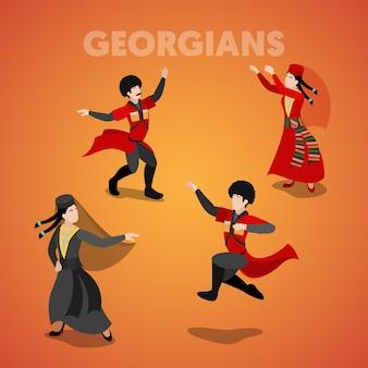 Isometrische georgische dansende mensen in traditionele kleding. vector 3d platte illustratie