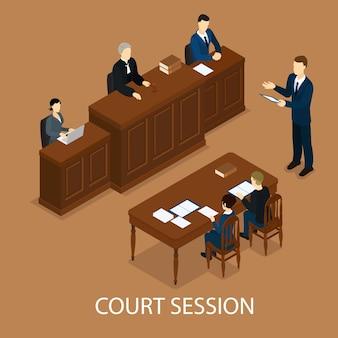 Isometrische gerechtelijke sessie concept