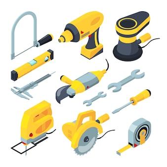 Isometrische gereedschappen voor constructie.