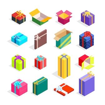 Isometrische geschenkdozen instellen