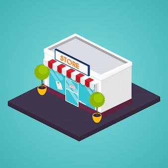 Isometrische gevel opslaan. illustratie van winkelgebouw. ideaal voor zakelijke webpublicaties en grafisch ontwerp. vlakke stijl illustratie.