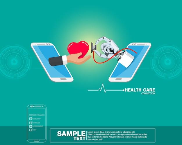 Isometrische gezondheid medicatie vectorillustratie, concept hand arts robot met rood hart op mobiele telefoon.