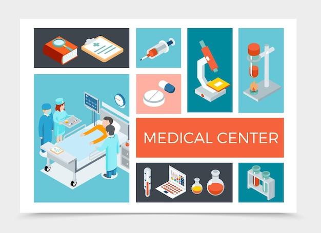 Isometrische gezondheidszorgsamenstelling met artsen die de illustratie van de patiënt bezoeken