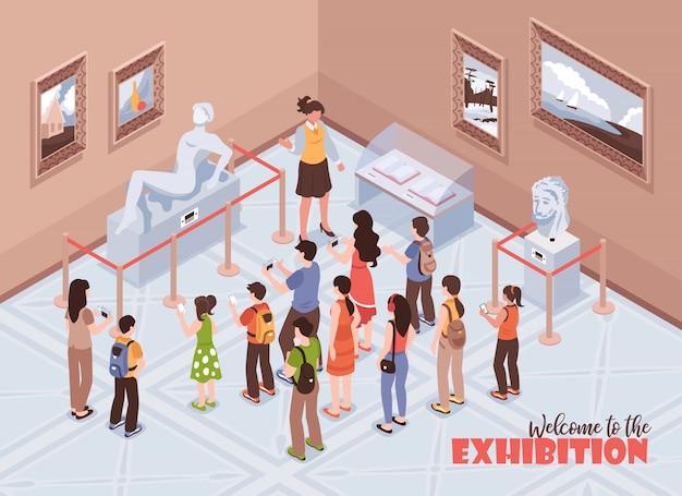 Isometrische gids excursie museum samenstelling met tekst en indoor weergave van geschiedenis museum met mensen