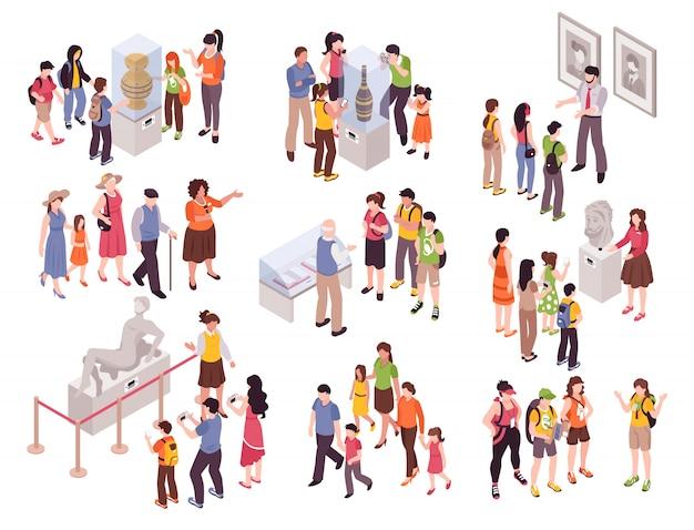 Isometrische gids excursie set met geïsoleerde groepen van menselijke personages met stukjes museum en bezienswaardigheden
