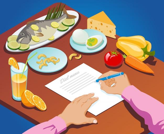 Isometrische goede voeding concept met man maakt dieetmenu van gezonde voedingsproducten