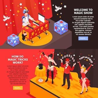 Isometrische goochelaar met horizontale spandoeken met tekst meer knop en afbeeldingen van goochelaars op het podium