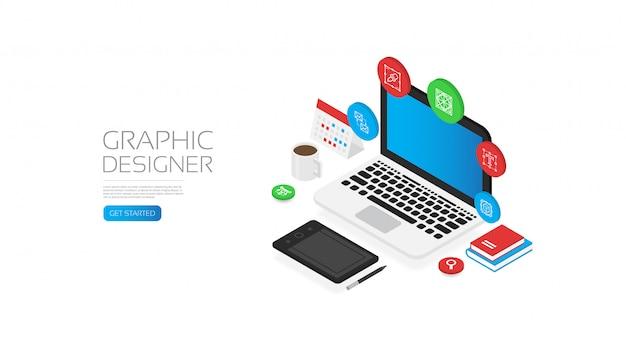Isometrische grafisch ontwerper met gereedschapspictogram