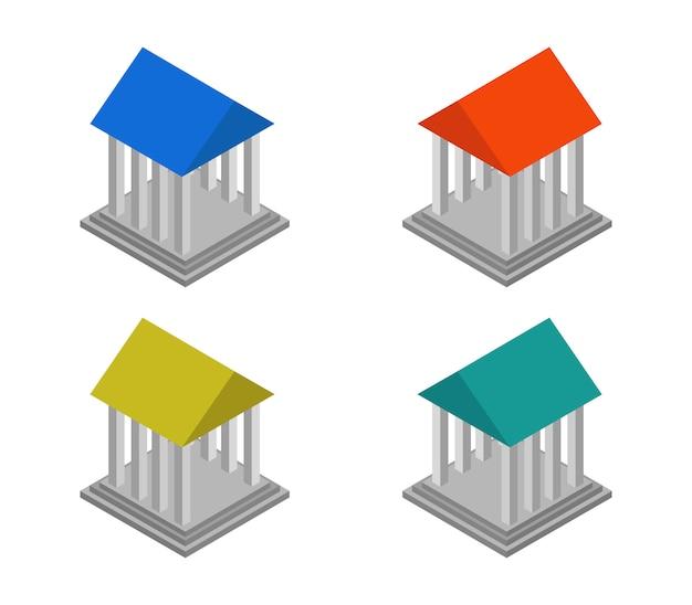 Isometrische griekse tempel set