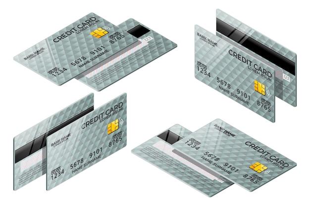 Isometrische grijze creditcardverzameling