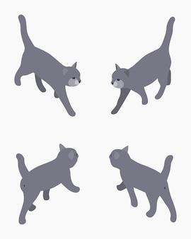 Isometrische grijze lopende kat.