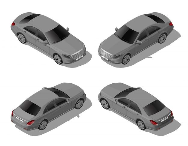 Isometrische grijze sedanauto die van verschillende kanten wordt geplaatst, modern voertuig, lux of bedrijfsconcept, stadsvervoer, dat op witte achtergrond wordt geïsoleerd