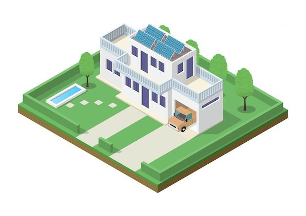 Isometrische groene eco vriendelijke huis met zonnepaneel.