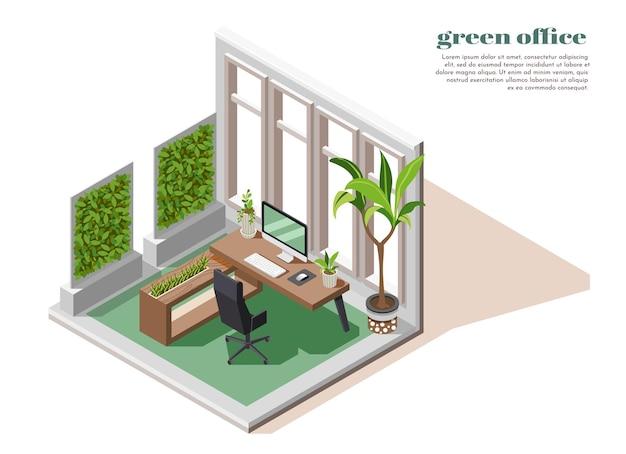 Isometrische groene kantoor kaartsjabloon