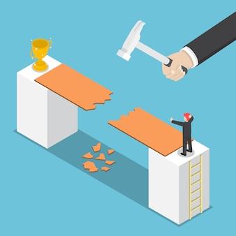 Isometrische grote hand vernietigen weg naar succes van zakenman