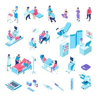 Isometrische gynaecologie zwangerschap set met geïsoleerde s van medische voorzieningen onderzoek stoel medicatie en menselijke karakters