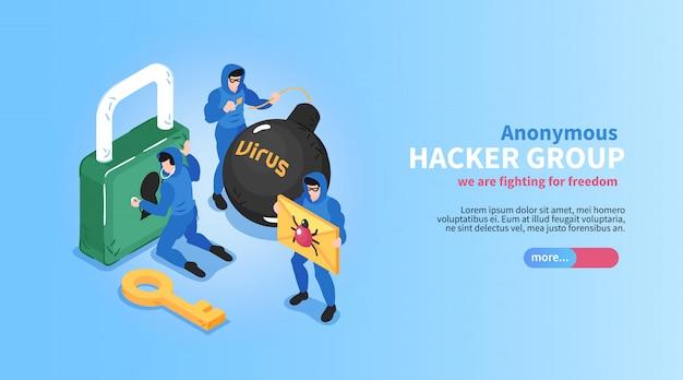 Isometrische hacker horizontale banner met bewerkbare tekst schuifknop en conceptuele afbeeldingen van sloten bugs virussen vector illustratie