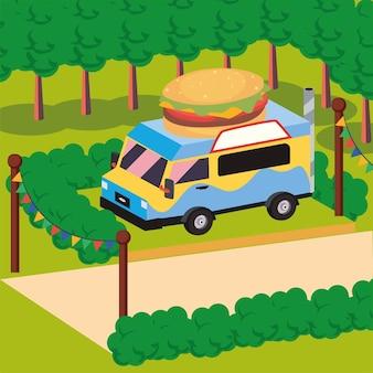 Isometrische hamburger food truck voertuig