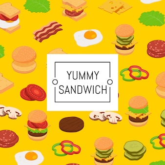 Isometrische hamburger ingrediënten achtergrond en gekleurd patroon
