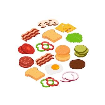Isometrische hamburger ingrediënten in cirkel