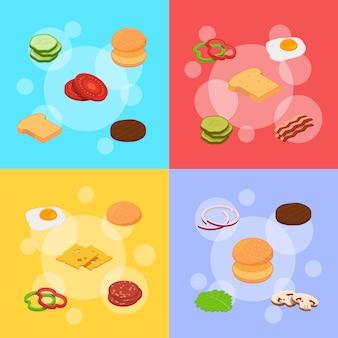 Isometrische hamburger ingrediënten infographic concept