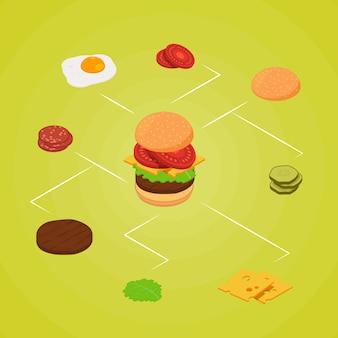 Isometrische hamburger ingrediënten infographic kleur