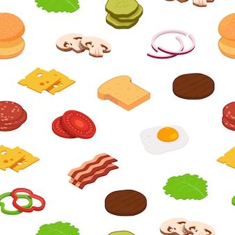 Isometrische hamburger ingrediënten patroon of illustratie