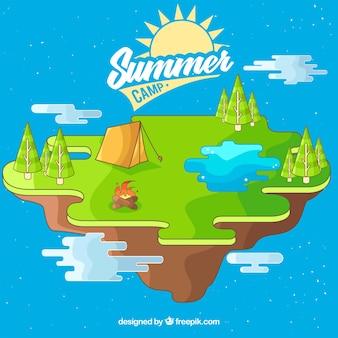 Isometrische hand getrokken zomerkamp achtergrond
