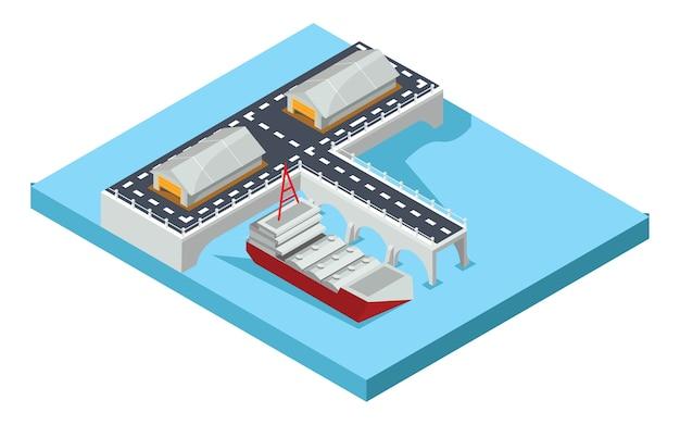 Isometrische haven van goederen, vectorillustratie