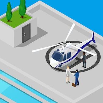 Isometrische helikopter met mensen uit het bedrijfsleven op het dak van het gebouw.
