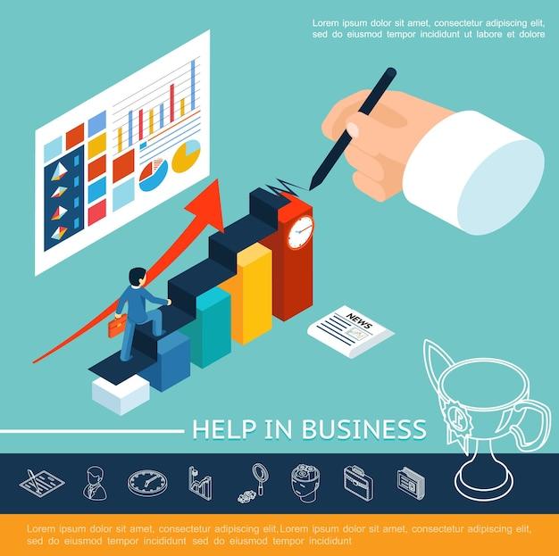 Isometrische help bedrijfsconcept met zakenman lopen trap schrijven handdiagrammen grafieken grafieken op blad en lineaire pictogrammen illustratie