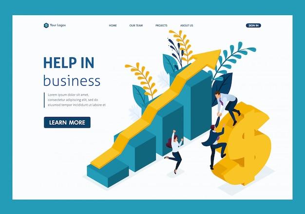 Isometrische helpende hand. groot bedrijf helpt ontwikkeling van klein bedrijf.