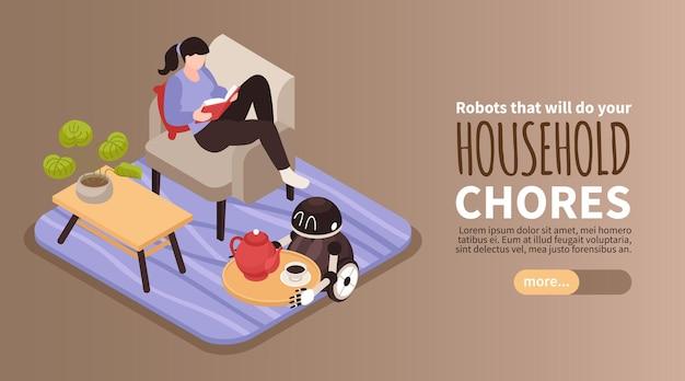 Isometrische horizontale banner met lezende vrouw en kleine robot met dienblad met koffie