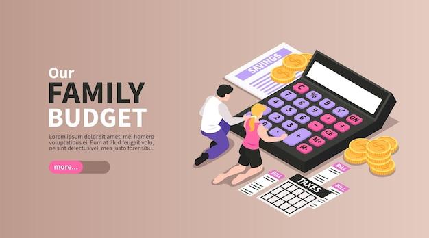 Isometrische horizontale banner van het gezinsbudget met paar dat uitgaven berekent