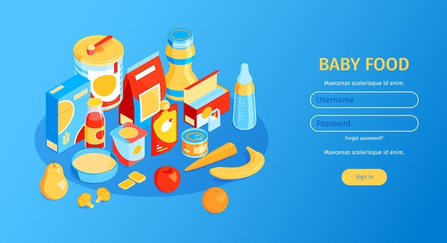 Isometrische horizontale banner voor babyvoeding met velden voor gebruikersnaam en wachtwoord