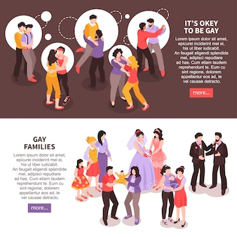Isometrische horizontale banners die met gelukkige lgbtparen en geïsoleerde families 3d worden geplaatst