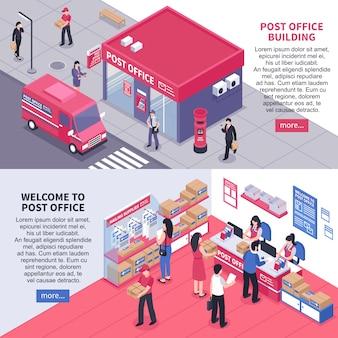 Isometrische horizontale banners van het postkantoor
