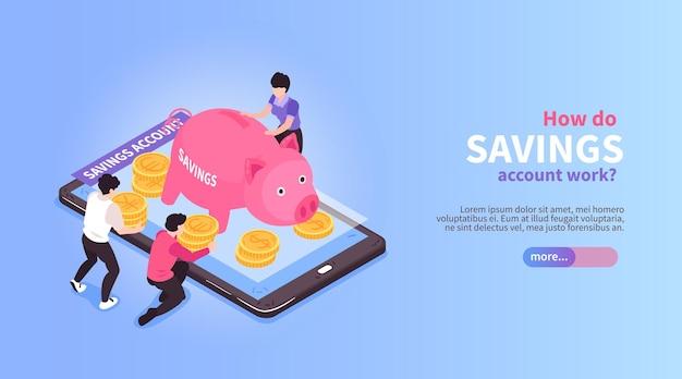 Isometrische horizontale bannersamenstelling voor online mobiel bankieren met afbeeldingen van varkensvormige nog steeds bank- en smartphoneillustratie