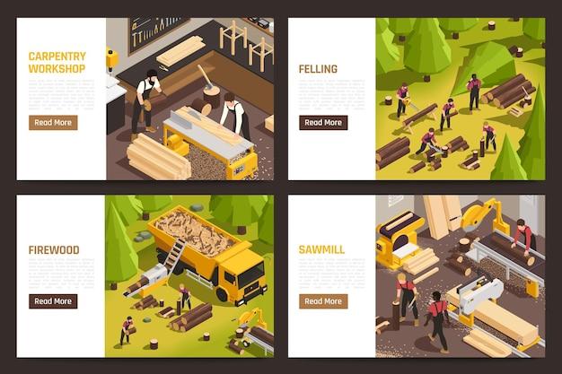 Isometrische horizontale die banners met houthakkers worden geplaatst die illustratie werken
