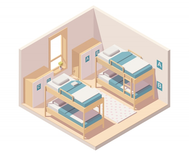 Isometrische hostel kamer of slaapzaal interieur met stapelbedden en kasten