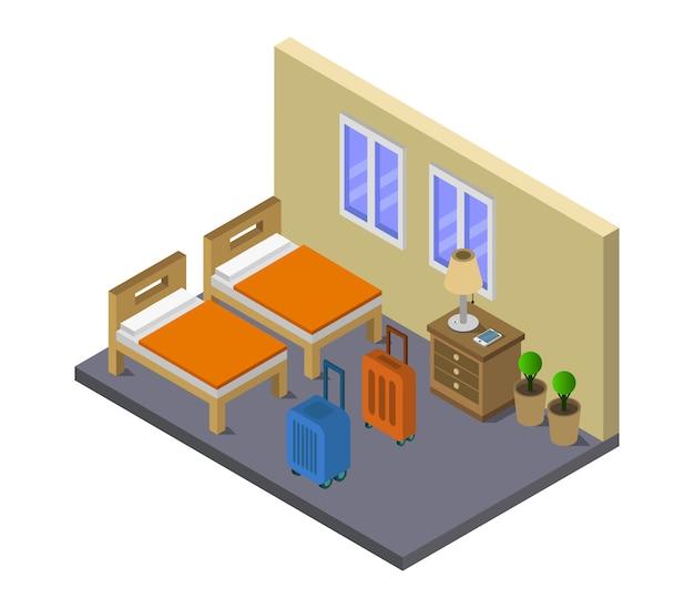 Isometrische hostelkamer
