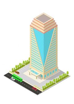 Isometrische hotel, appartement, kantoor of wolkenkrabber bouwen